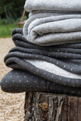 Ref COURCHEVEL- Plaid double face, 1 face maille fine & fil lurex 1 face effet laine de mouton en polyester