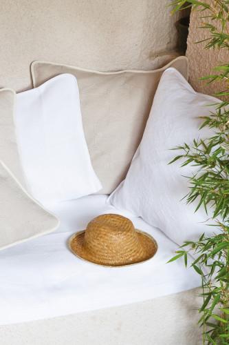 Ref PERIGORD - Housse d'oreiller carree en pique de coton motif jacquard
