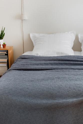 Ref. LEO - Dessus de lit jacquard effet plissé avec fines rayures