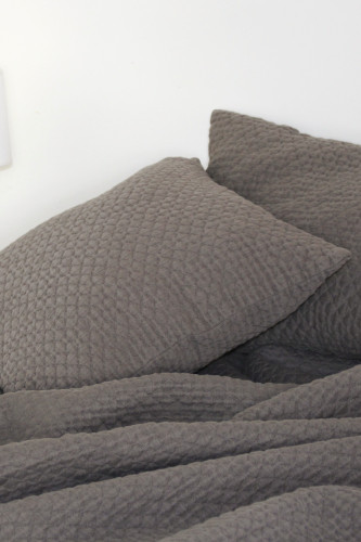 Ref BROOKLYN - coussin  dehoussable stonewashed  aspect gaufre
